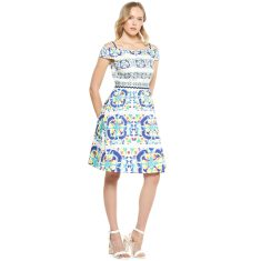 Patricia off the shoulder cotton a-line dress in blue circle print