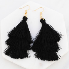Triple tassle drop earrings in black and gold