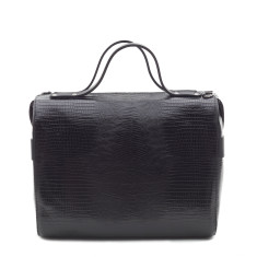 Bridget bowler bag black snake print leather