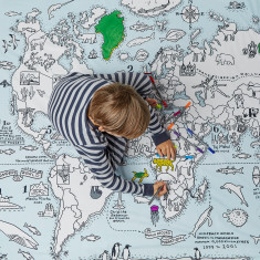 World map single doona cover to colour in (with pens)