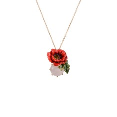 Red flower and white stone necklace