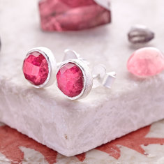 Cupcake Stud Earrings In Silver With Silimanite