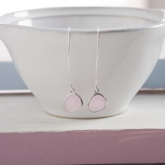 Soft Pink Silver Raindrop Earrings