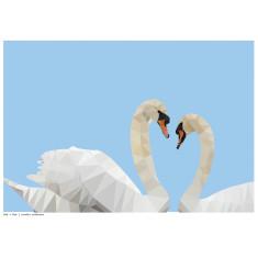 Geometric swans art print