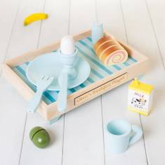 Personalised Wooden Blue Breakfast Set