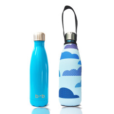 Stainless steel future bottle with carry cover in cloud print