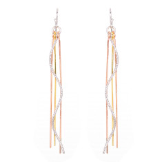 Silver rain wave tricolour earrings