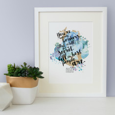 Alice in Wonderland you're entirely bonkers watercolour quote print