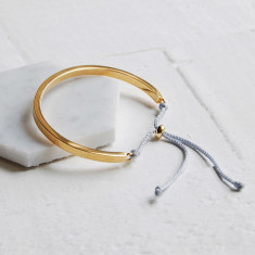 Gold Cuff Bangle With Grey Cord