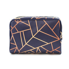 Copper Geometric Vegan Leather Large Toiletry Wash Bag