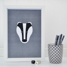 Childrens Badger on grey print