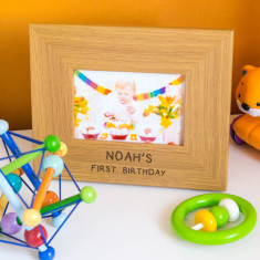 Personalised child's birthday oak photo frame