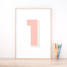 Personalised Pink Number Art Print