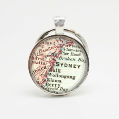 Sydney map silver key ring