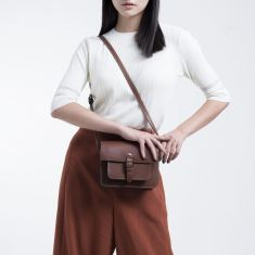 Leather cambridge satchel in brown