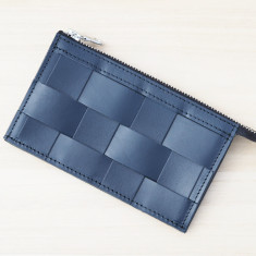 Leather Naver wallet in Navy