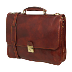 King Servio brown leather messenger bag