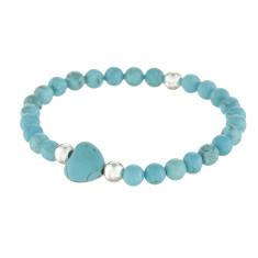 Turquoise heart silver ball bracelet