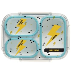 Personalised Bento Lunch Box - Thunder (Blue)
