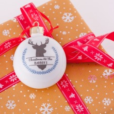 Personalised Winter Stag Bone China Christmas Bauble