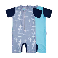 Baby sunsuit for boys in Byron Cloud