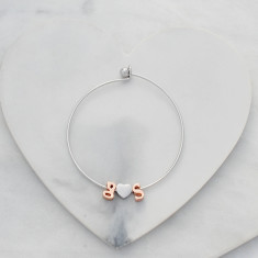 Personalised Initials & Ampersand/Heart bangle silver and rose gold