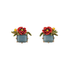 Red Flower and blue Stone Earrings