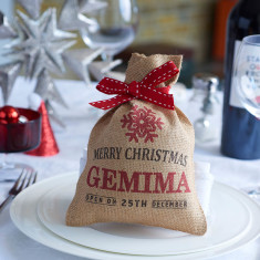 Personalised mini Piccadilly hessian Christmas sack