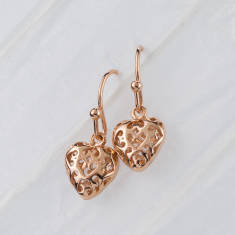 Rose gold filigree loveheart earrings
