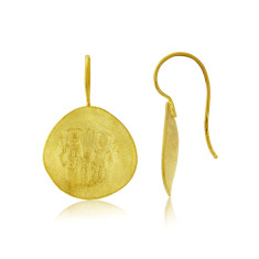 Gold Vermeil Byzantine Round Hook Earrings