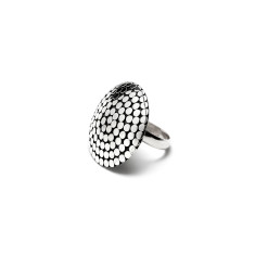 Dome dot adjustable sterling silver ring