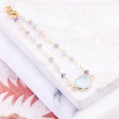 Sara central stone bracelet with aqua chalcedony