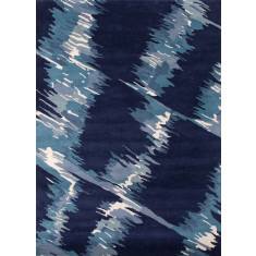 Deep navy & ocean blue hand-tufted wool rug