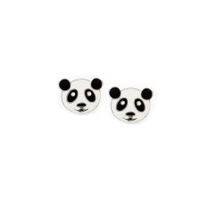 A small world panda face stud earrings