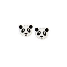 A small world panda face stud earrings