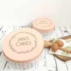 Personalised pastel cake tin with wreath design