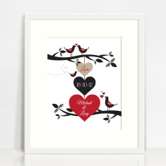 Three hearts personalised love print