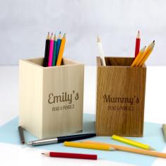 Personalised Wooden Pen & Pencil Pot