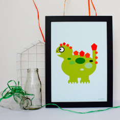 Little Green Dinosaur Nursery Print