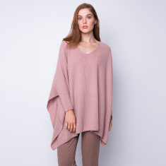 Oversize rib knit poncho in dusty rose