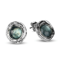 Venus Ancient Roman Glass Sterling Silver Stud Earrings