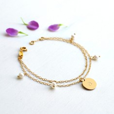 Personalised Gold Initial Disc, Freshwater Pearl and Double Chain Bracelet