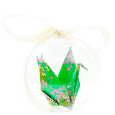 Origami Crane Hope in a Box Emerald Blossom