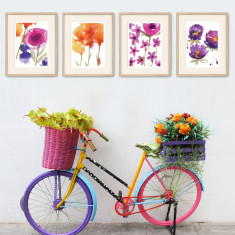 Vivid Blooms Wall Art Print Pack (set of 4)