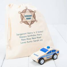 Personalised Click And Clack Wooden Police Car Toy