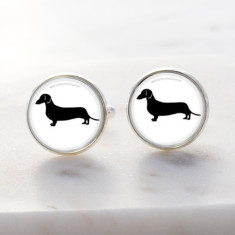Dachshund sausage dog cufflinks in silver and glass