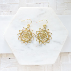 Fine brass mandala earrings
