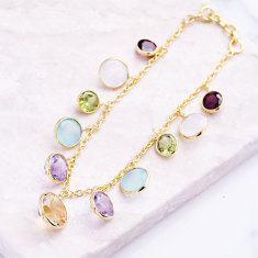 Rainbow charm bracelet with multi gemstones