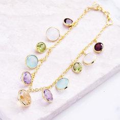 Rainbow charm bracelet with multi gemstones