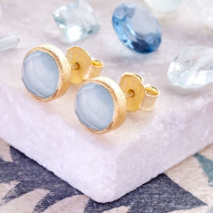 Cupcake Stud Earrings With Aqua Chalcedony